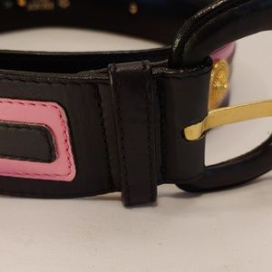 ESCADA Pink and Navy Belt with Gold